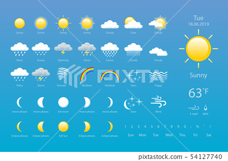 set weather icons. All icons for weather with 54127740