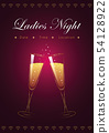 ladies night party poster with champagne glasses and diamonds 54128922