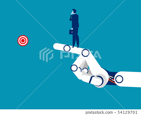 Technology success. Businessman standing on the 54129701