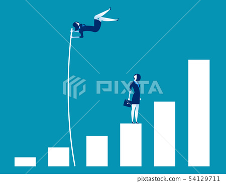 Growth for business, Leader and jumping, Concept 54129711