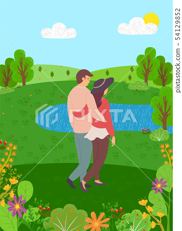 Happy Couple Back View Spend Time Together in Park 54129852