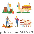 Farmers Working with Animals, Farming People Set 54129926