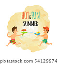 Summer Isolated Icon, Children with Water Guns 54129974