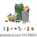 Garbage on white background. Cartoon trash, food rubbish, litter and refuse, sweepings for waste 54130814
