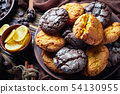 Cracked lemon and chocolate biscuits on a plate 54130955
