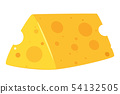Piece of Swiss cheese flat vector illustration 54132505