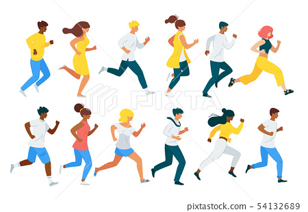 People running flat vector characters set 54132689