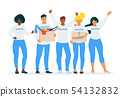 Volunteers with donations flat vector illustration 54132832