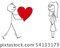 Vector Cartoon of Man or Boy in Love Giving Big Romantic Red Heart to Woman or Girl 54133179