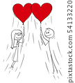 Vector Cartoon of Couple of Man and Woman in Love Flying on Red Heart Shaped Balloons 54133220