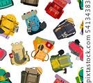 Backpack rucksack travel tourist knapsack outdoor hiking traveler backpacker baggage luggage vector 54134383