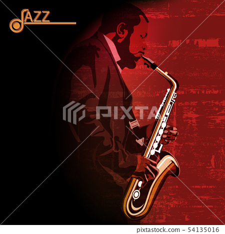 abstract music illustration with saxophone player 54135016
