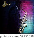 abstract music illustration with saxophone player 54135030