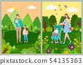 Woman with Children Walking in Forest or Park 54135363