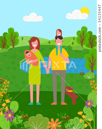 Summer Vacation of Father and Mother with Child 54135447