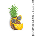 Pineapple with Sunglasses Vector Illustration 54135520