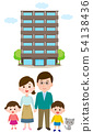 Smiling family illustration in front of an apartment 54138436