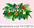 Summer tropical holiday background with exotic 54138735