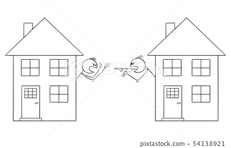 Vector Cartoon of Two Men or Neighbors Living in Family Houses and Fighting or Arguing 54138921