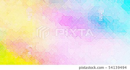 鮮豔細緻的抽象多彩幾何造型特寫紋理背景(無縫接圖,高解析度 2D CG 渲染∕著色插圖) 54139494
