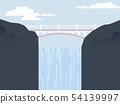 High bridge between mountain with waterfall 54139997