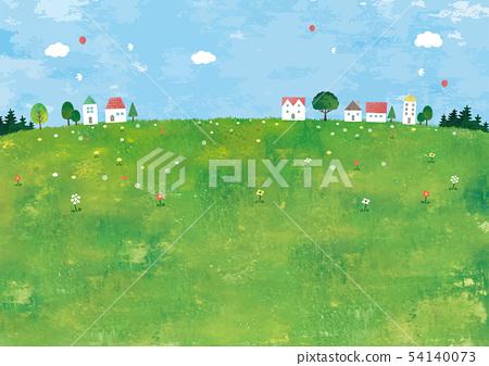 초원과 집과 나무의 경치 54140073
