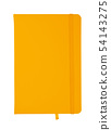 Yellow leather cover notebook isolated on white 54143275