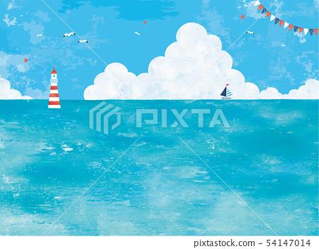유화 바다와 뭉게 구름의 경치 54147014