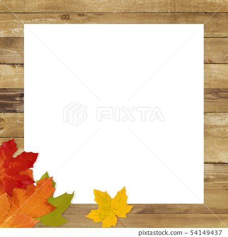 배경 - 가을 - 우드 - 낙엽 - 빈티지 - 프레임 54149437
