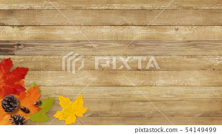 배경 - 가을 - 우드 - 낙엽 - 도토리 - 빈티지 54149499