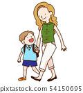 父母和孩子走路 54150695
