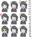 一套各種面部表情(女式西裝,黑頭髮馬尾辮) 54151354