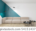Empty interior with blue geometric print on the wall. Sofa, coffee table and wood floor. 54151437