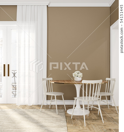 Classic beige empty interior room with dinner table, chairs, curtain, wooden floor and flowers. 54151445