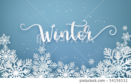 Christmas card with paper cut  snow flake 54156532
