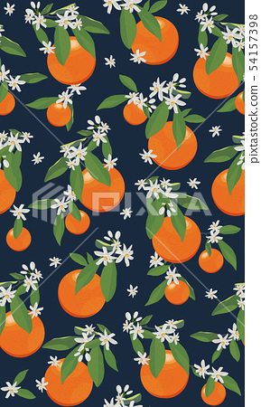 Seamless pattern orange fruits with flowers and 54157398
