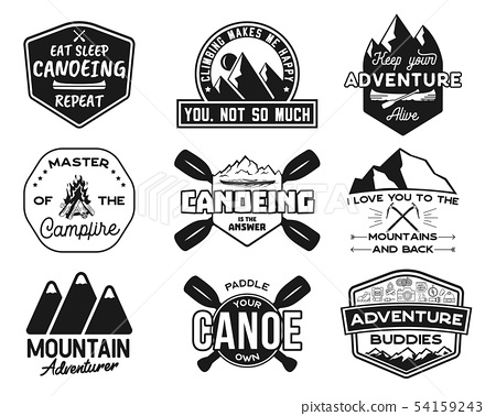 Vintage canoe kayaking logos patches set. Hand drawn camping labels designs. Mountain expedition 54159243