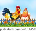 Chicken family in the garden 54161459