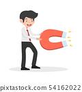 businessman hold Big magnet cartoon vector 54162022