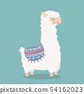 Cute funny alpaca  fluffy cartoon 54162023