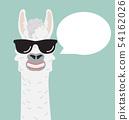 Cute alpaca with glasses speech bubble 54162026