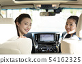 Two women riding a car 54162325