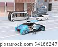 마호 라이드 점유율을 예약 한 남성이 탑승한다. 지하철 근처에 자동 운전 버스가 정차하고있다 54166247