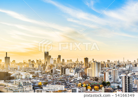 city skyline aerial night view of oji in japan 54166349