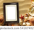 Picture frame on shells and sand background 54167402
