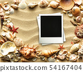 Picture frame on shells and sand background 54167404