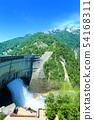 Fresh green Kurobe dam and tourist water discharge 54168311