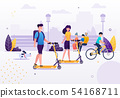 Cartoon Couple Riding Scooters in Park with Dog. 54168711