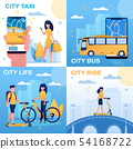 Different Types of Vehicle, Scooter, Bike, Bus. 54168722