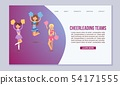 High-school profession cheerleading teams vector template for web page. In action. Fans cheer girls 54171555